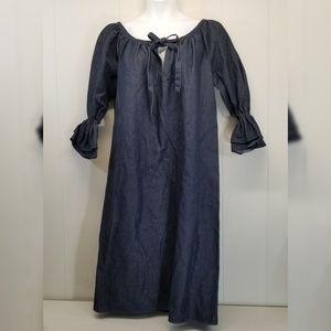Style Paris Susan Sutherland Denim Dress Blue Plus